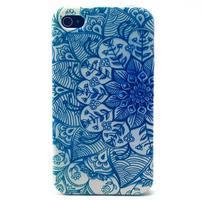 Emotive gélový obal pre mobil iPhone 4 - modrá mandala