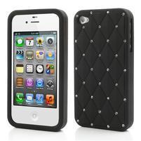Diamonds silikónový obal pre mobil iPhone 4 - čierne