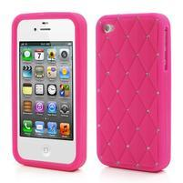 Diamonds silikónový obal pre mobil iPhone 4 - rose