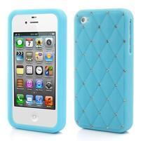 Diamonds silikónový obal pre mobil iPhone 4 - svetlemodrý