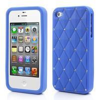 Diamonds silikónový obal pre mobil iPhone 4 - modrý