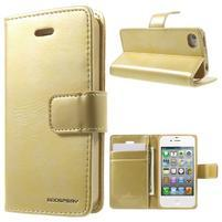 Moon PU kožené puzdro pre mobil iPhone 4 - zlaté