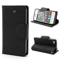 Fancys PU kožené puzdro pre iPhone 4 - čierne
