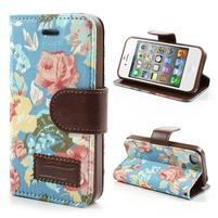 Elegantné PU kožené puzdro pre iPhone 4 - modré pozadí