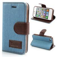 Jeans peňaženkové puzdro pre iPhone 4 - svetlomodré