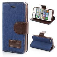 Jeans peňaženkové puzdro pre iPhone 4 - modré
