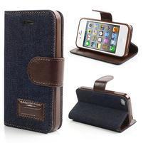 Jeans peňaženkové puzdro pre iPhone 4 - čiernomodré