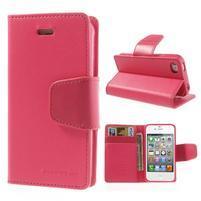 Diary PU kožené knížkové puzdro pre iPhone 4 - rose
