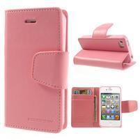 Diary PU kožené knížkové puzdro pre iPhone 4 - ružové