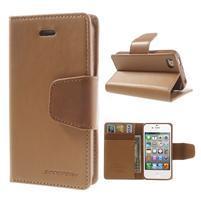 Diary PU kožené knížkové puzdro pre iPhone 4 - hnedé