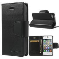 Diary PU kožené knížkové puzdro pre iPhone 4 - čierne