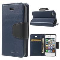 Diary PU kožené knížkové puzdro pre iPhone 4 - tmavomodré