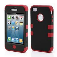 Extreme odolný kryt 3v1 na mobil iPhone 4 - červený