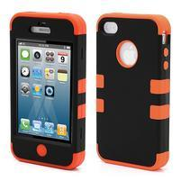 Extreme odolný kryt 3v1 na mobil iPhone 4 - oranžový