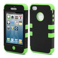 Extreme odolný kryt 3v1 na mobil iPhone 4 - zelený
