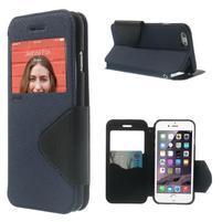 Peňaženkové puzdro s okienkom na iPhone 6 a 6s - tmavomodré