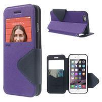 Peňaženkové puzdro s okienkom na iPhone 6 a 6s - fialové