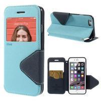 Peňaženkové puzdro s okienkom na iPhone 6 a 6s - svetlomodré