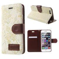 Elegantné kvetinové peňaženkové puzdro pre iPhone 6 a 6s - biele
