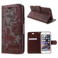 Elegantné kvetinové peňaženkové puzdro na iPhone 6 a 6s - červenohnedá