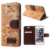 Elegantné kvetinové peňaženkové puzdro pre iPhone 6 a 6s - oranžové