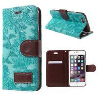 Elegantné kvetinové peňaženkové puzdro na iPhone 6 a 6s - tyrkysové