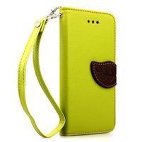 PU kožené peňaženkové puzdro pre iPhone 6s a 6 - zelene