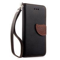 PU kožené peňaženkové puzdro pre iPhone 6s a 6 - čierne