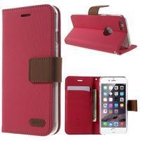 Peňaženkové koženkové puzdro pre iPhone 6s a 6 - rose