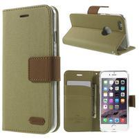 Peňaženkové koženkové puzdro pre iPhone 6s a 6 - khaki