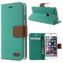 Peňaženkové koženkové puzdro pre iPhone 6s a 6 - zelené