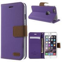 Peňaženkové koženkové puzdro pre iPhone 6s a 6 - fialové