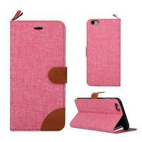 Látkové / koženkové peňaženkové puzdro na iphone 6s a 6 - ružové