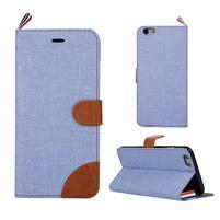 Látkové / koženkové peňaženkové puzdro pre iphone 6s a 6 - svetlomodré