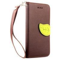 PU kožené peňaženkové puzdro pre iPhone 6s a 6 - hnedé