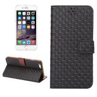 Mriežkovaného koženkové puzdro na iPhone 6 a iPhone 6s - čierne