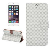 Mriežkovaného koženkové puzdro pre iPhone 6 a iPhone 6s - biele