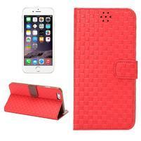 Mriežkovaného koženkové puzdro na iPhone 6 a iPhone 6s - červené