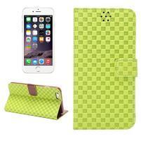 Mriežkovaného koženkové puzdro na iPhone 6 a iPhone 6s - zelené