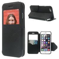 Peňaženkové puzdro s okienkom na iPhone 6 a 6s - čierne