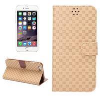 Mriežkovaného koženkové puzdro pre iPhone 6 a iPhone 6s - béžové