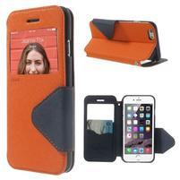 Peňaženkové puzdro s okienkom na iPhone 6 a 6s - oranžové