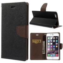 Peňaženkové puzdro pre iPhone 6 Plus a 6s Plus -  čierne/hnedé