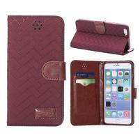 Elegantné peňaženkové púzdro pre iPhone 6 Plus a 6s Plus - vínové