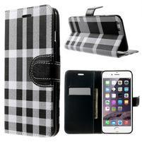 Kárované peňaženkové puzdro pre iPhone 6 Plus a 6s Plus - čiernobiele