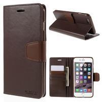 Peňaženkové puzdro pre iPhone 6 Plus a 6s Plus - hnedé