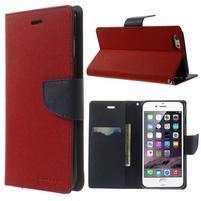 Peňaženkové puzdro pre iPhone 6 Plus a 6s Plus -  červené