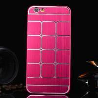 Štýlový kryt s kovovými chrbtom pre iPhone 6 Plus a 6s Plus - rose