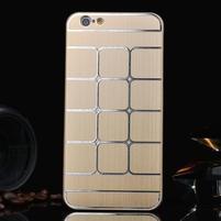 Štýlový kryt s kovovými chrbtom pre iPhone 6 Plus a 6s Plus - champagne