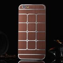 Štýlový kryt s kovovými chrbtom pre iPhone 6 Plus a 6s Plus - hnedý
